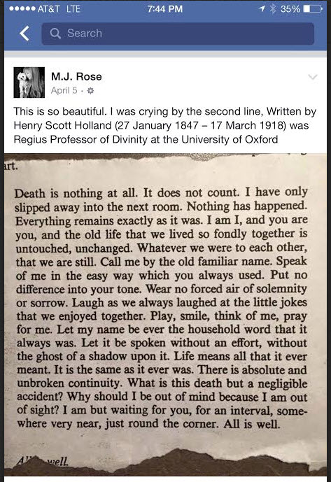 Henry Scott Holland - on dying - FB posting